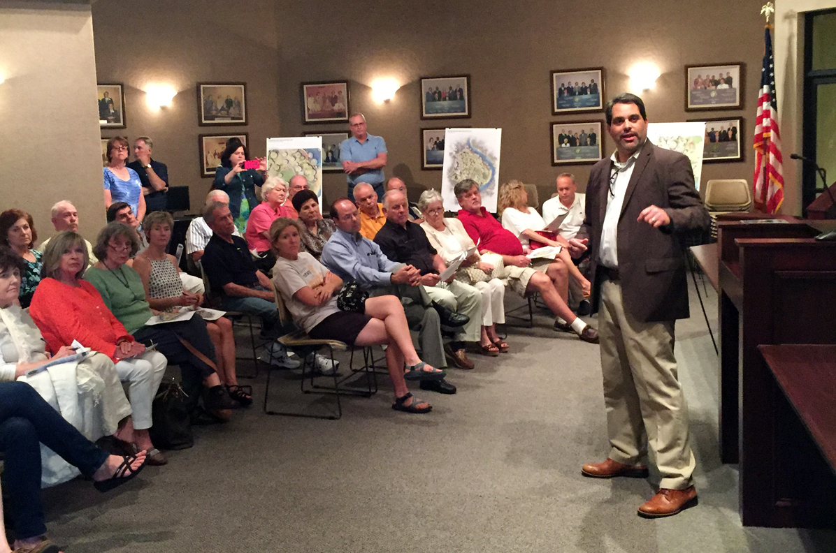 Ross speaking to residents of the City of Covington about Bogue Falaya Park upgrades that include bike, ped, and vehicle safety enhancements.