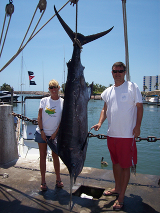 John, his wife Paula, and her first blue marlin in Mazatlan