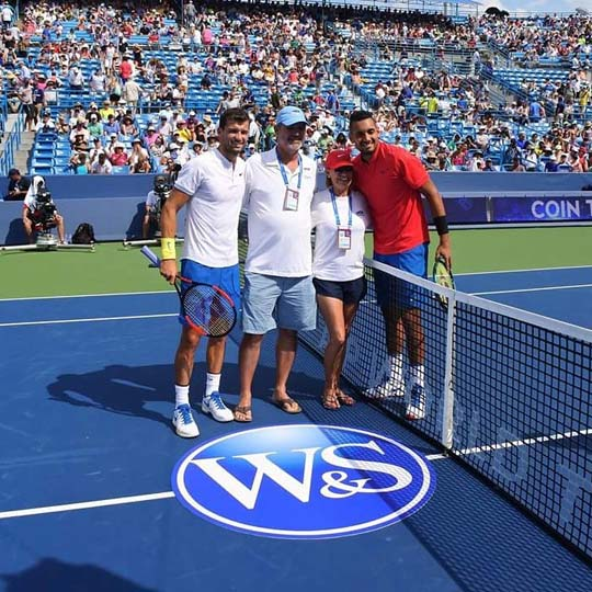 At the coin toss for last year's Western Southern Open men's final