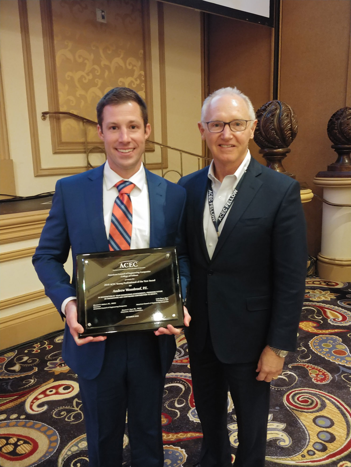 Award winner, Andrew Woodroof, with DE CEO Kurt Evans