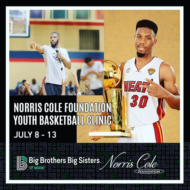 On behalf of #NorrisColeFoundation I'm excited that I'll be teaming up with @BBBSMiami on a week-long basketball clinic for youth this summer in Miami! #HeatNation #Miami #YouthDevelopment #ColeBlooded30 To Register Link in Bio.