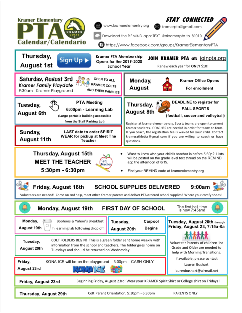 click on picture to download August Calendar.