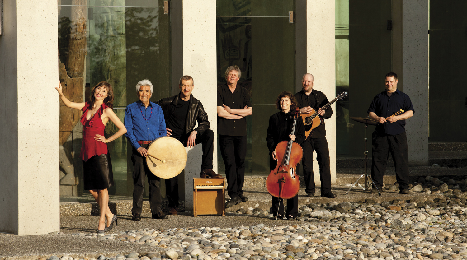 Album musicians - left to right: Terri-Lynn Williams-Davidson, Robert Davidson (hand drum), Simon Kendall (keyboards), Bruce Ruddell (producer and arrangements), Sue Round (cello), Dave Corman (guitar), Jason Ovary (percussion).