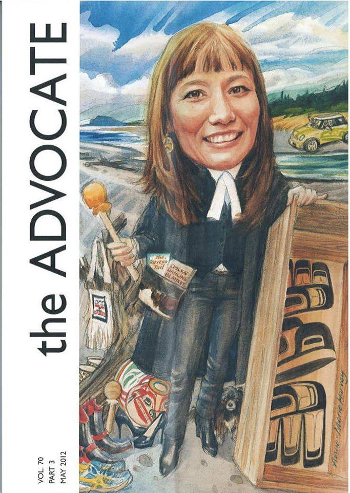 The Advocate is a magazine published six times a year by the Vancouver Bar Association. The cover of each issue of the Advocate is a unique work of art. Each portrait features an individual who has had an impact on the BC legal community.