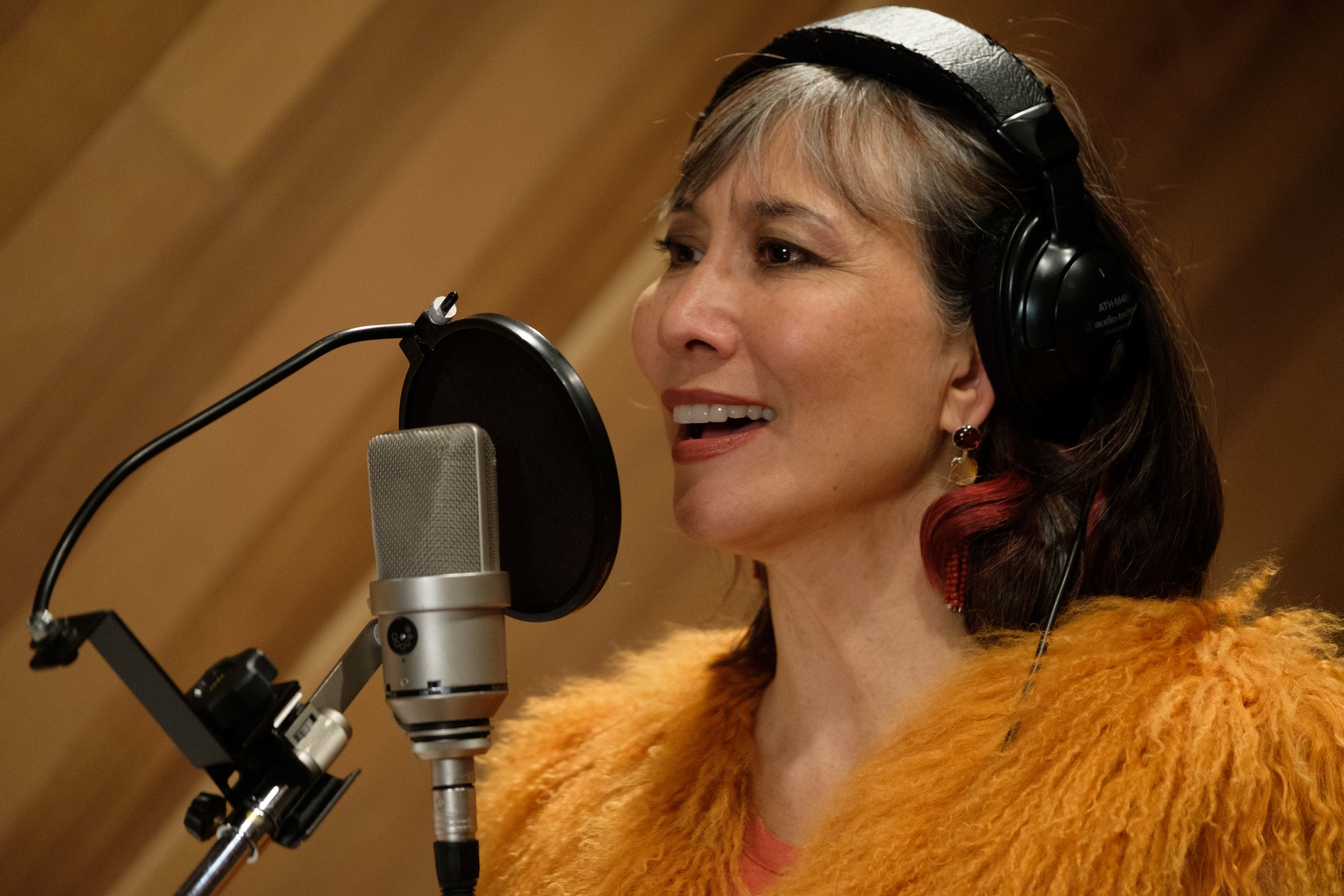 Terri-Lynn in the recording studio