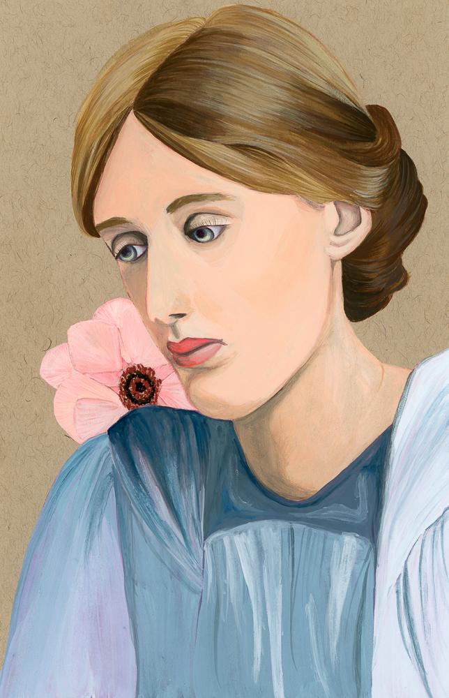 Gouache Painting of Virginia Woolf - Curious Darling - J Danielle Wehunt