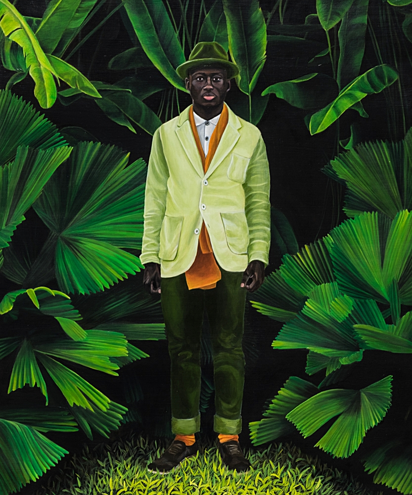 Steven Onoja - This painting started as a personal project. I first saw Stevens face in a photo taken by a fellow Stocksy photographer and I was so curious to find out who he was. After a little detective work, I found his instagram feed and was blown away with how stately he is. I reached out and asked if he was comfortable with me painting him and he obliged kindly, seeming warm and friendly. Once I got past painting the foliage, I was stuck for months on what palette to choose for his clothing, but patiently allowed it to come to me naturally until it felt right. I'm glad I waited. It's everything I wanted it to be.