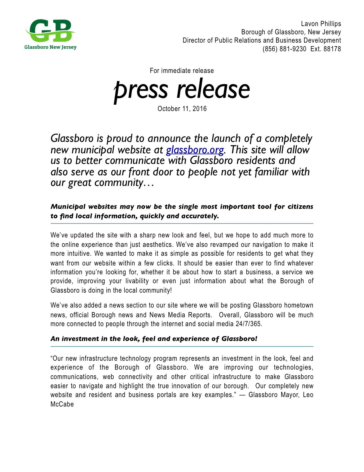 glassboro new website press release