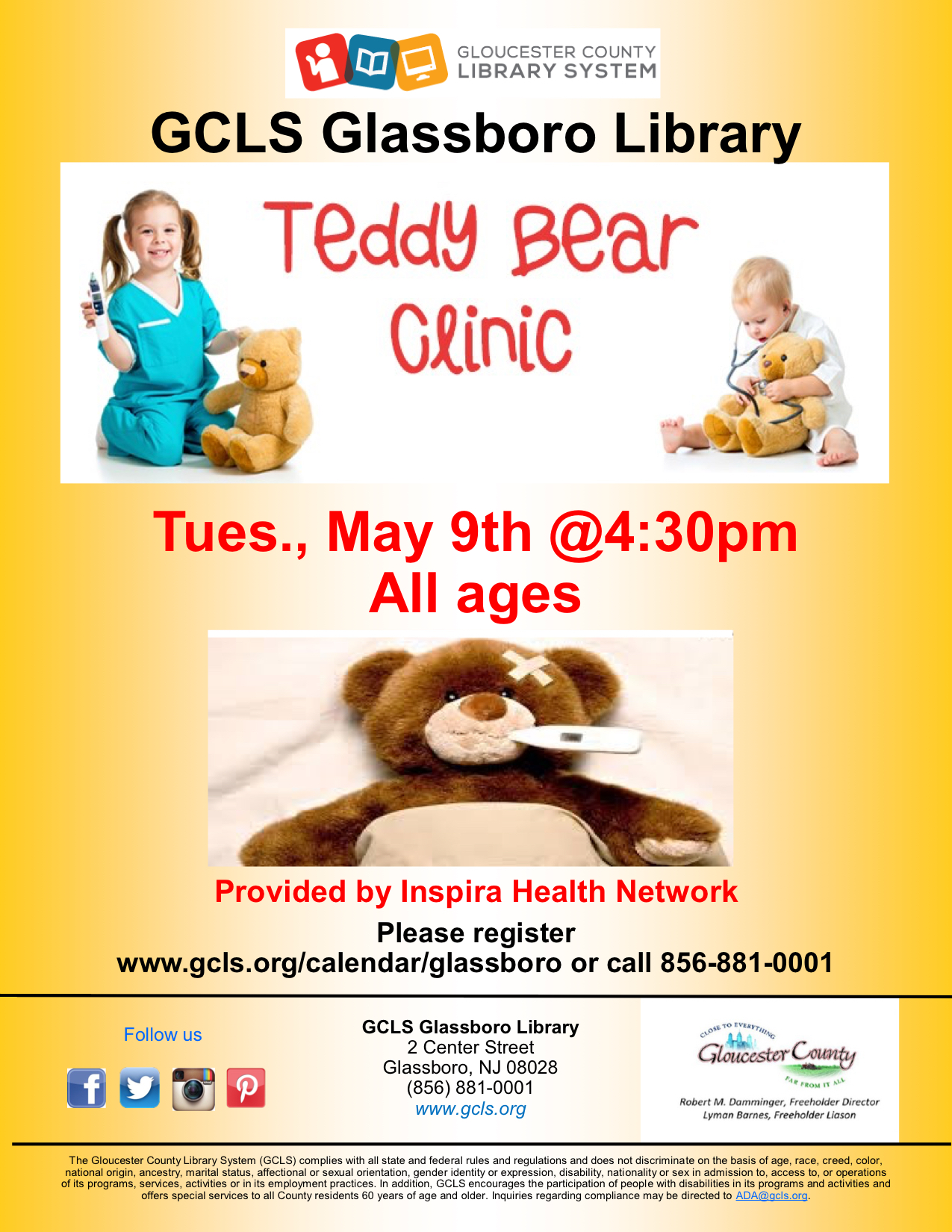 teddy bear clinic glassboro library