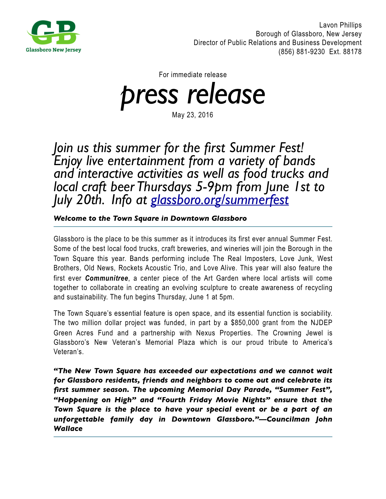 glassboro summer fest press release