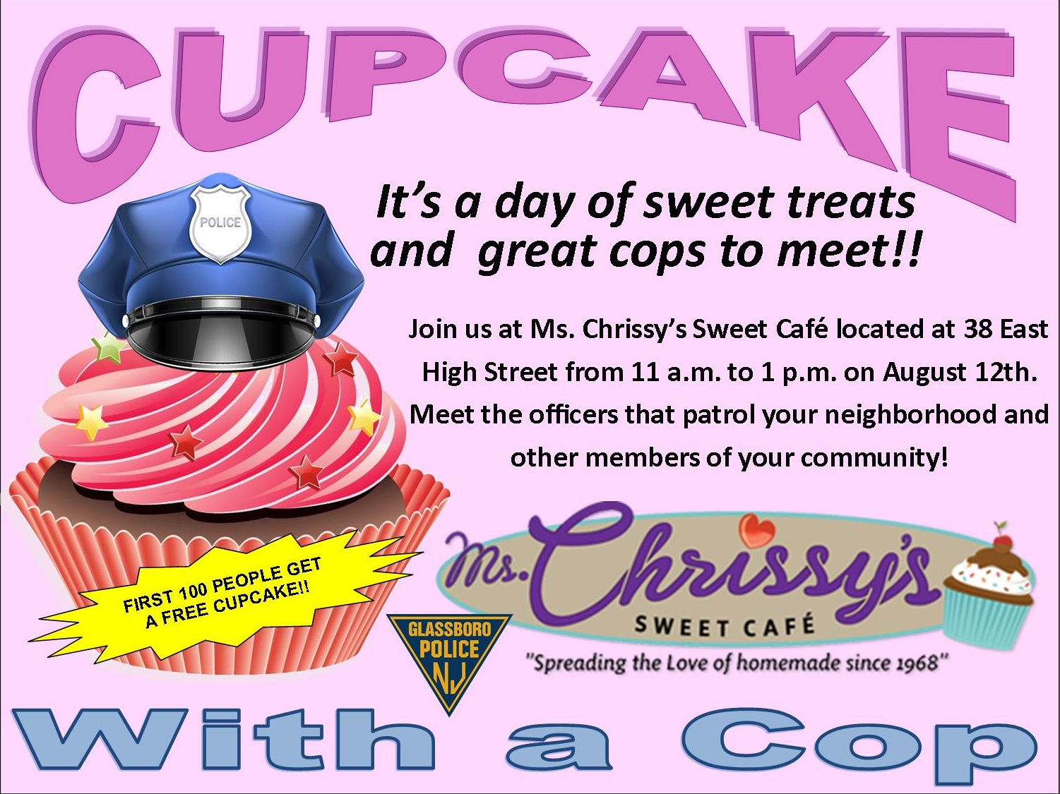 cupcake with a glassbroo cop