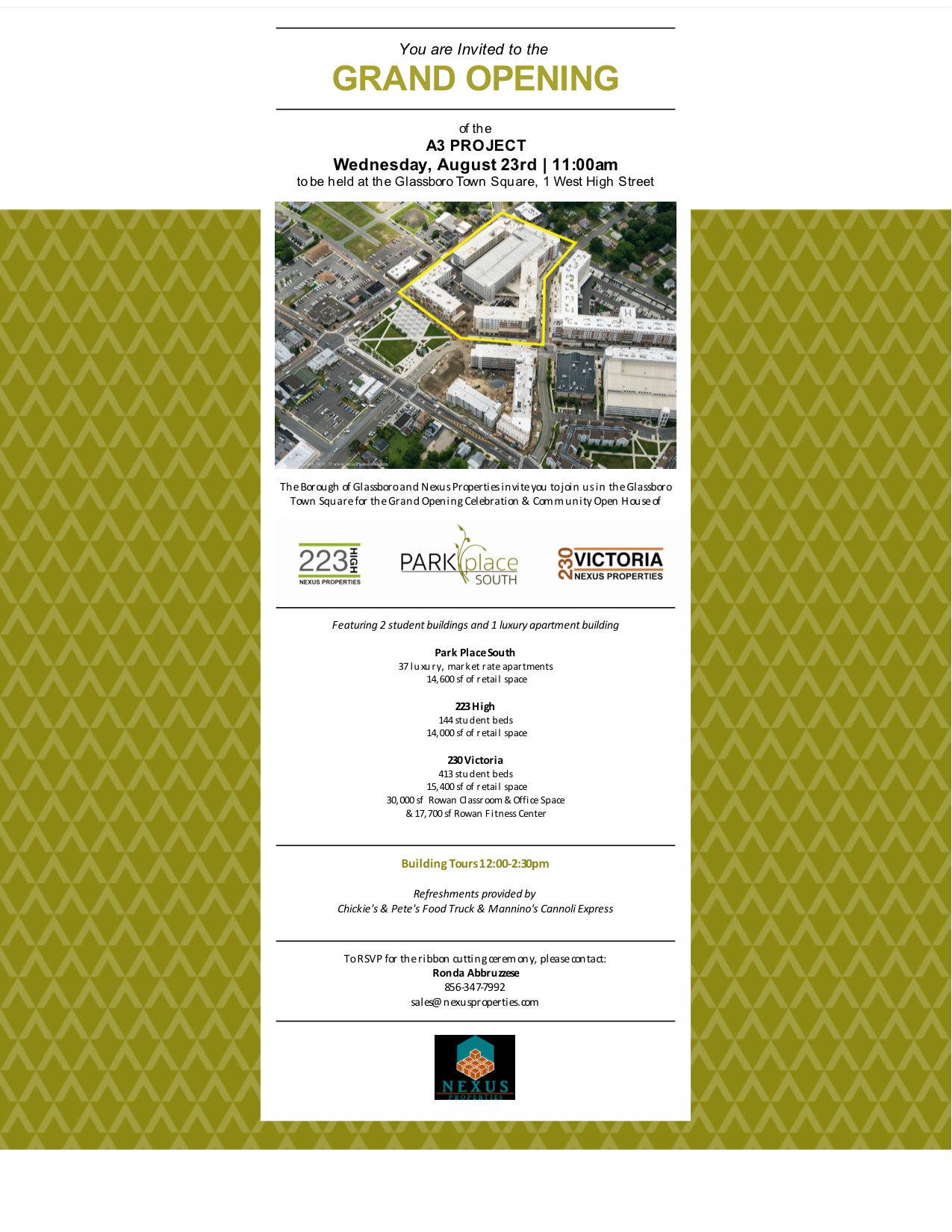 You are Invited to the GRAND OPENING of the A3 PROJECT