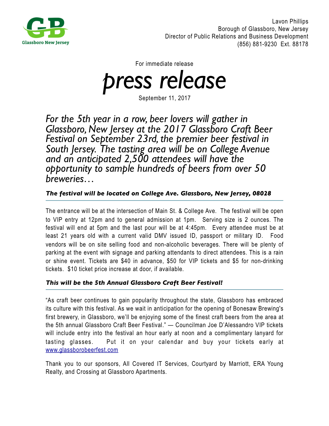 2017 Glassboro NJ Press Release CRAFT BEER FESTIVAL.jpeg