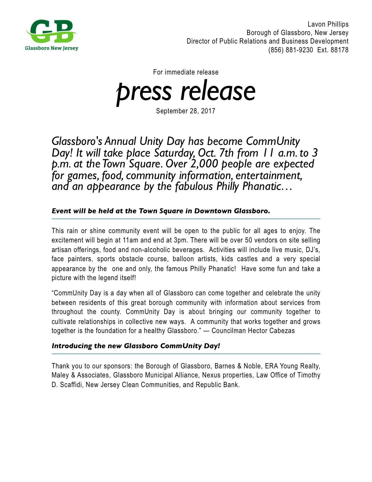 Introducing the new Glassboro CommUnity Day!
