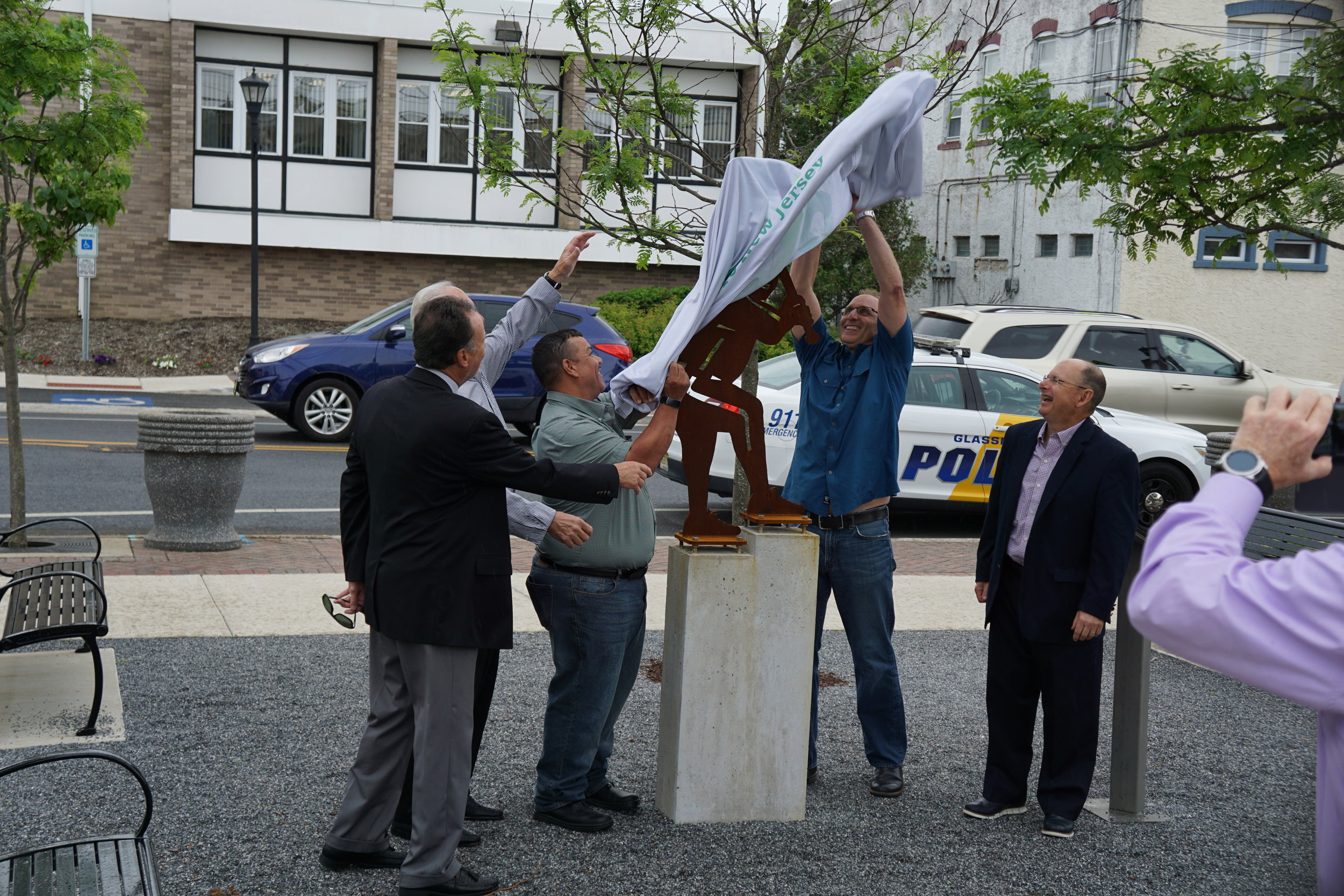 Glassboro's Mayor and Council Members held a dedication ceremony for the unveiling of a sculpture honoring former Glassboro Mayor Alvin Shpeen (1999-2002)