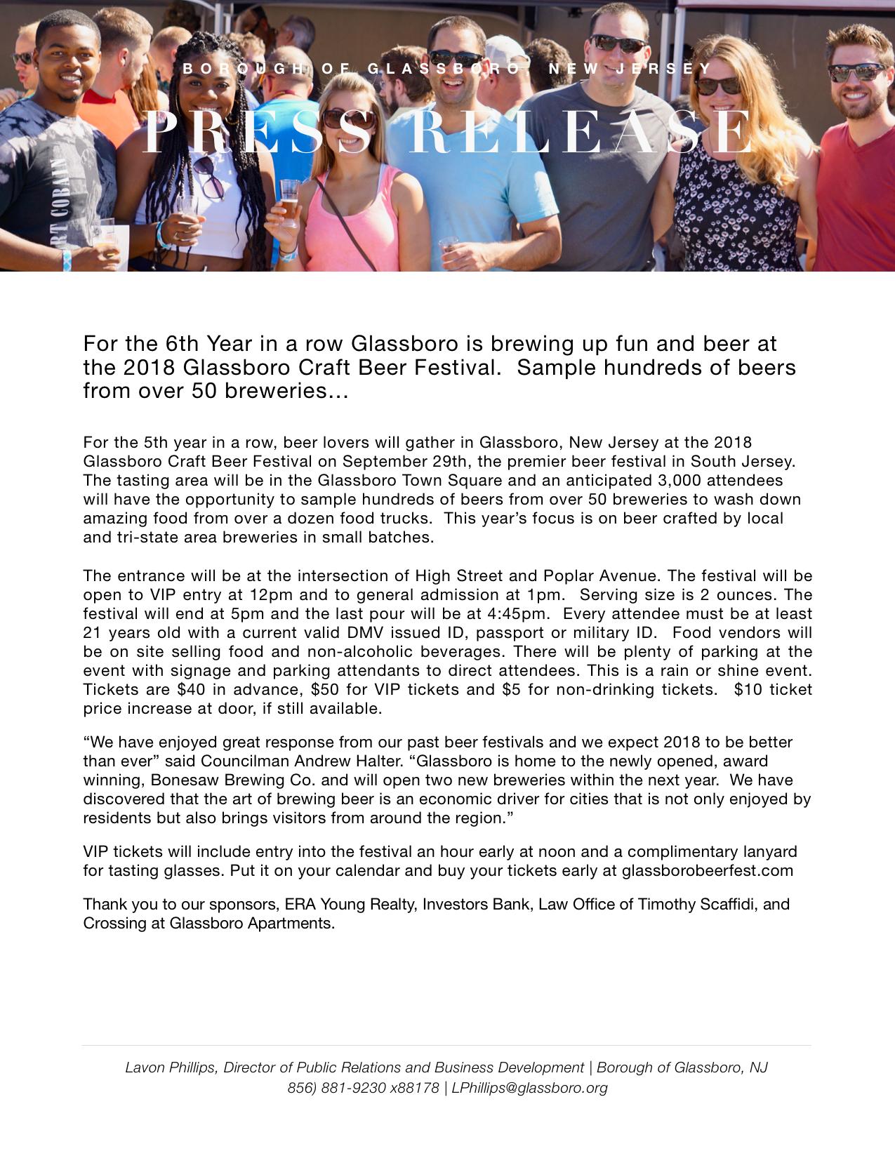 Glassboro NJ Press release CRAFT BEER FESTIVAL 2018.jpeg