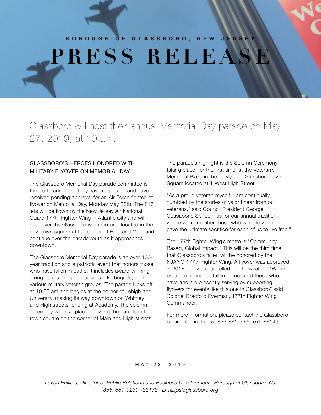 Glassboro NJ Press release MEMORIAL DAY PARADE 2019.jpeg
