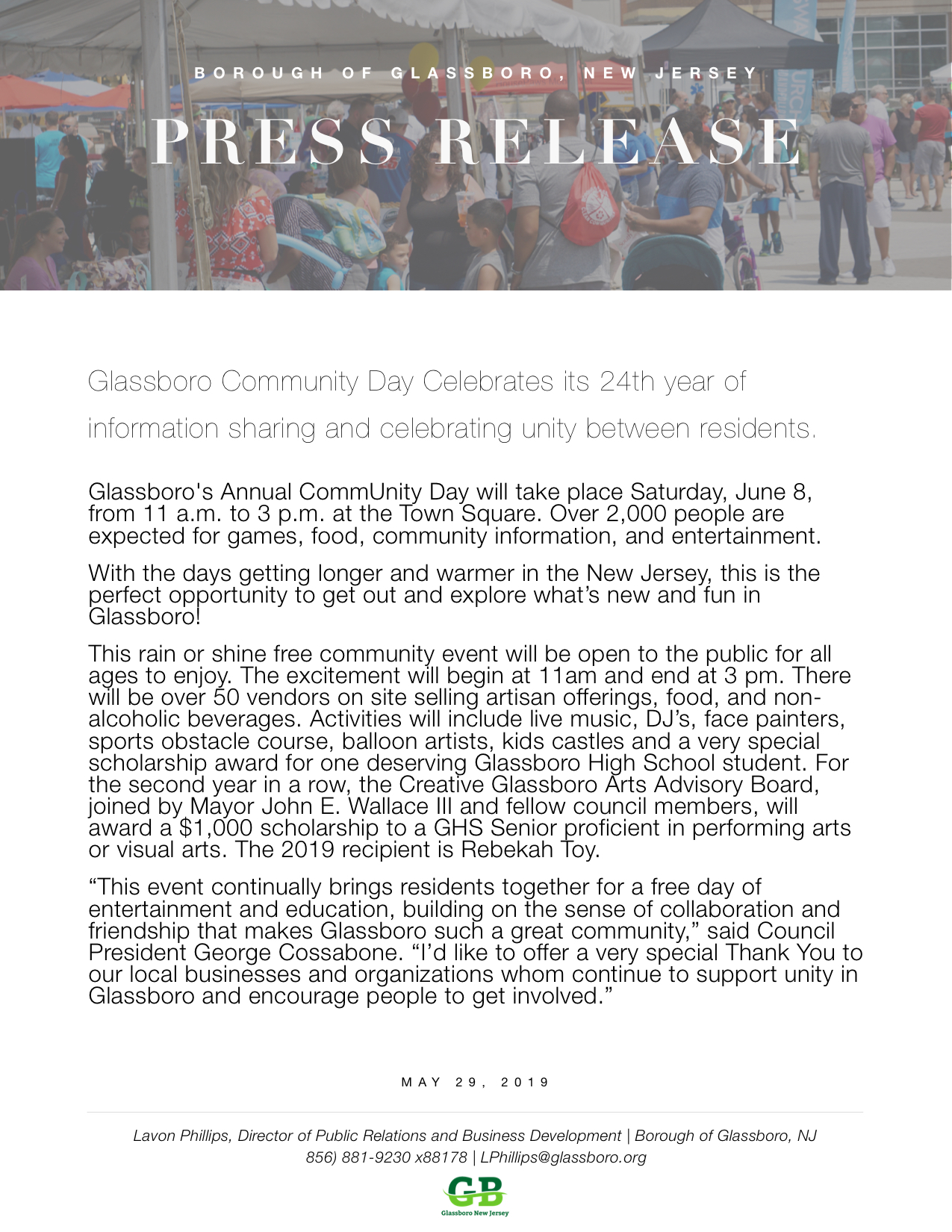 2019 Glassboro NJ Press Release COMMUNITY DAY.jpeg