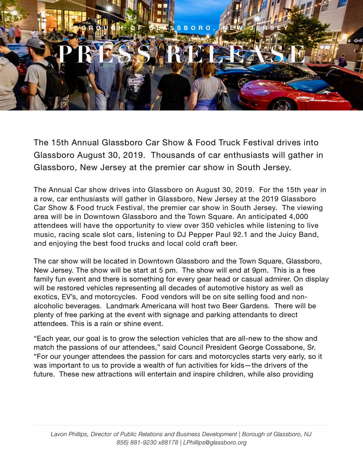 Glassboro NJ Press Release 2019 CAR SHOW AND FOOD TRUCK FESTIVAL .jpeg