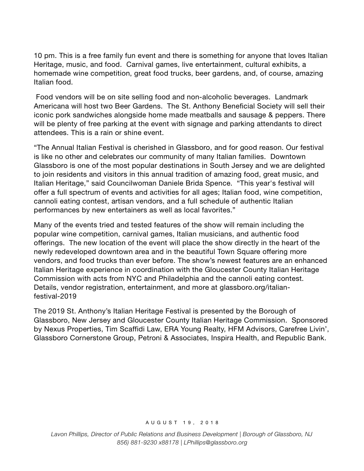 Glassboro NJ Press Release 2019 ST. ANTHONY ITALIAN HERITAGE FESTIVAL.jpeg