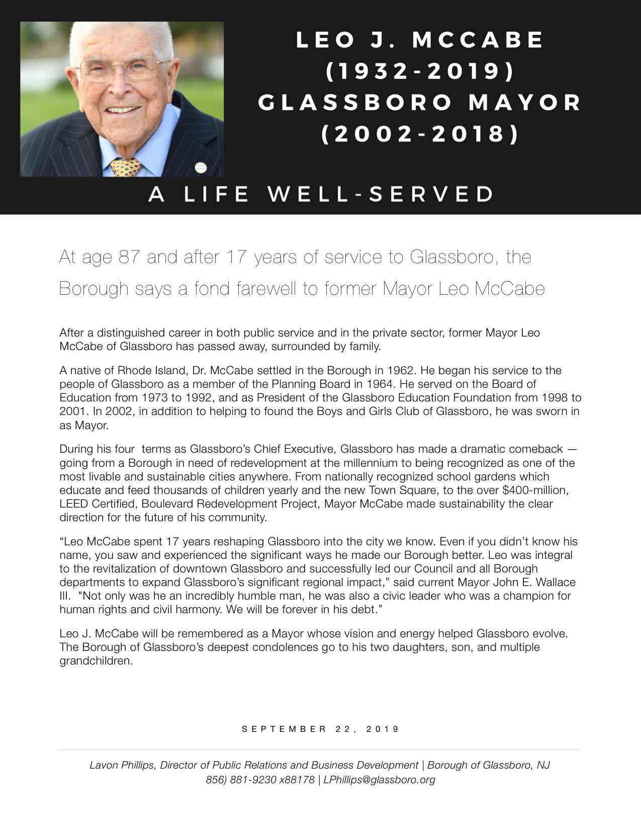 Glassboro NJ Press release Passing of Former Mayor Leo McCabe .jpeg