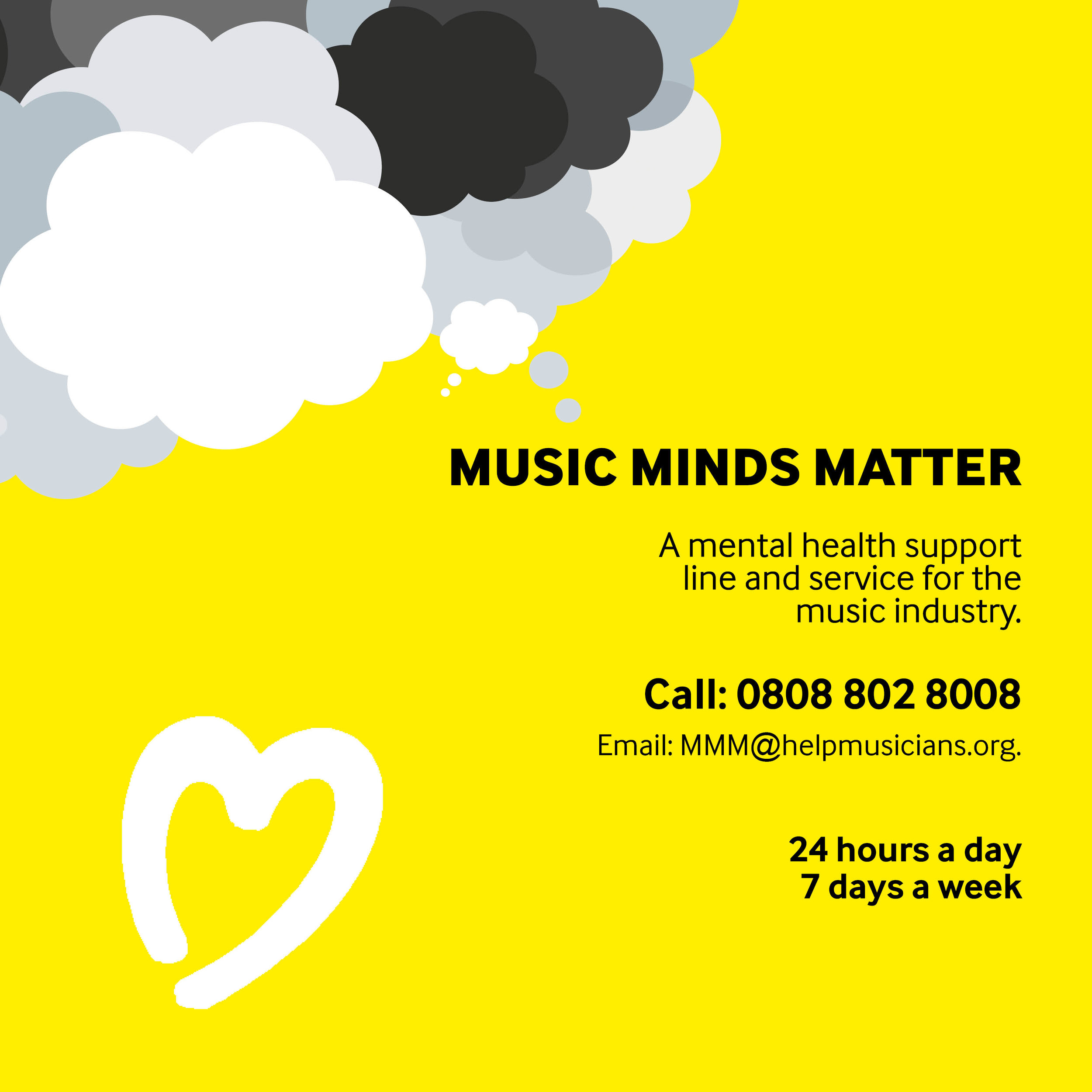 A mental health support line and service for the music industry. Donate to the charity by clicking on the image above.