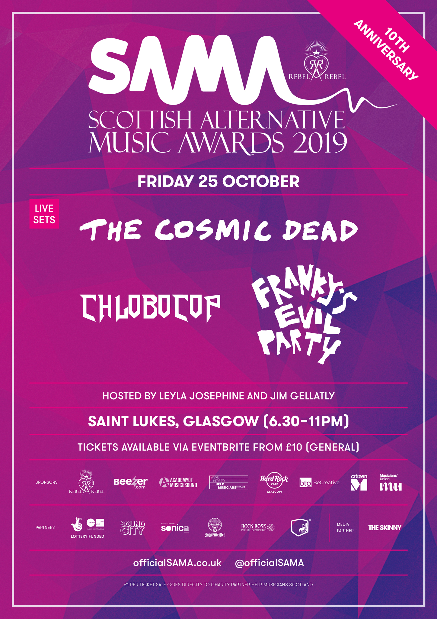 Please note: Chlobocop will no longer be performing at the event.  A limited amount of tickets are available for Scottish Alternative Music Awards via Eventbrite. Teaming up with Scotland's leading music charity Help Musicians Scotland, £1 from each will go directly to the charity and invested back into supporting Scottish musicians.