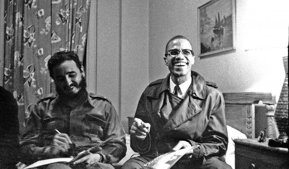 Fidel Castro and Malcolm X at Harlem's Hotel Theresa in 1960.