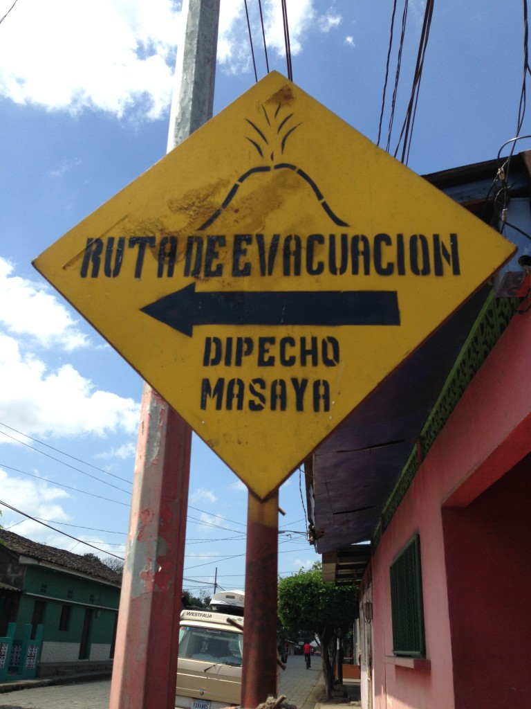 Safety standards and public information is vastly different south of the US border so we were impressed to see this evacuation route sign for when the Masaya volcano blows.