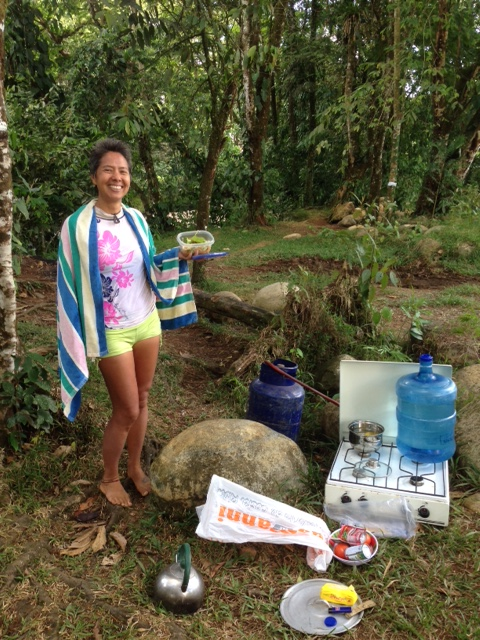 Lunch break from work involves packing up the stove to bring to the river for a swim and food.