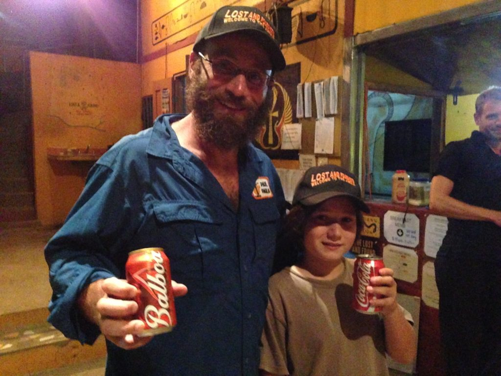 For five hours of hiking, sore legs, and stinky armpits we get a beer and a soda? Awesome!