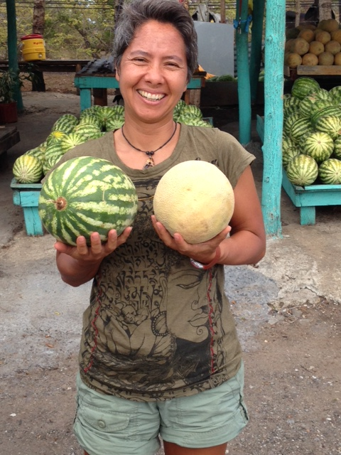 R poses with her sweet, sweet melons.