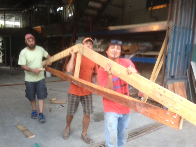 We spent the morning building the roof frame for the Floating House.