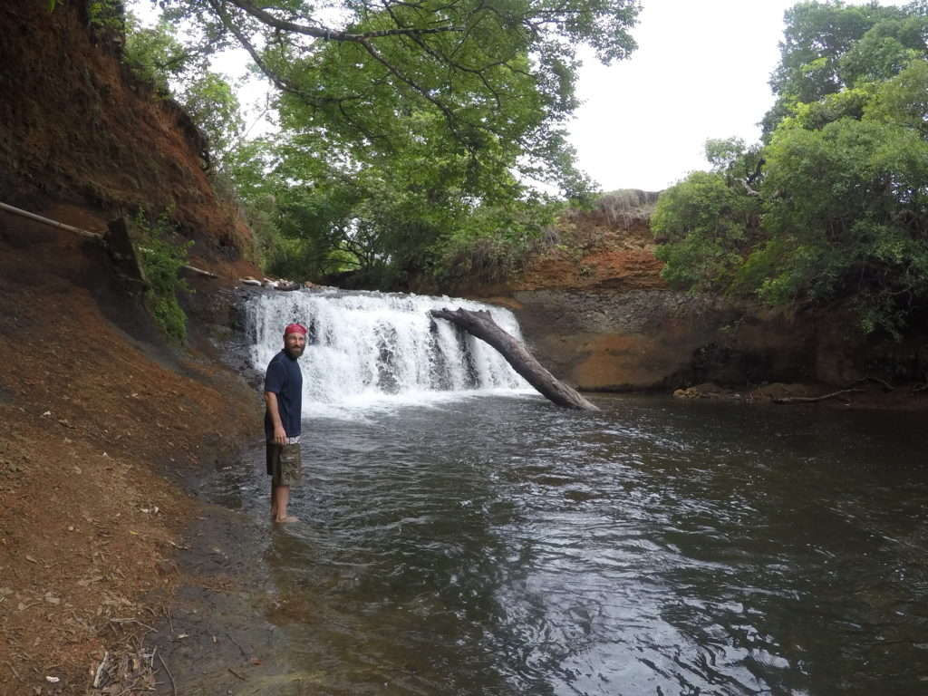 Me and the waterfall which gives the Waterfall Hostal it's name. J added it to his list of things jumped from.