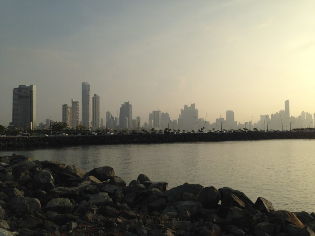 Early morning view of the Panama City skyline from the Casco Viejo neighborhood located on the other side of the Bahia de Panama