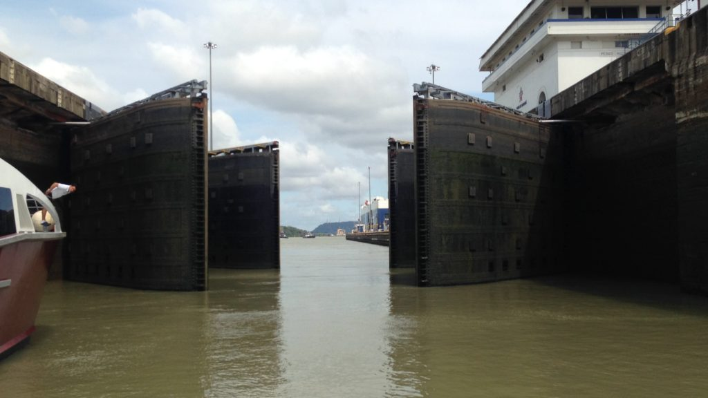 A fish eye view of the Miraflores locks that open to the Pacific Ocean