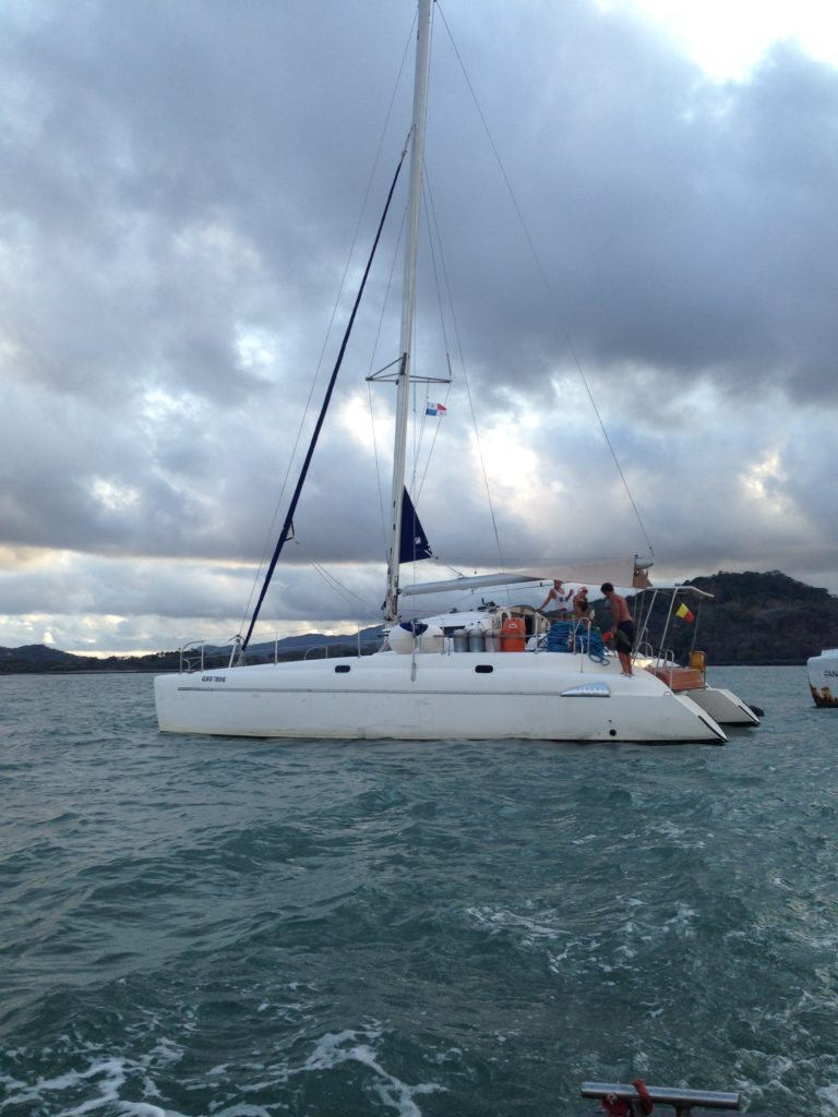 Nautili - the 38-foot catamaran that we transited across the Panama Canal
