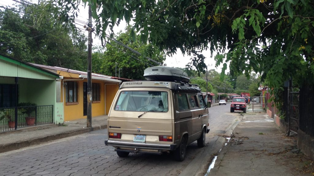Typical Costa Rican street in a typical Costa Rican town. Not a stray chicken or howler monkey in sight.