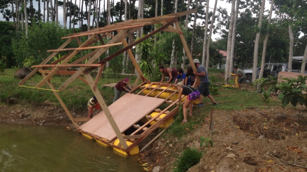 We spent a week building this floating house in Costa Rica. We connected with Esteban and Tom via Workaway, an online community that connects volunteers with jobs in exchange for room and board.