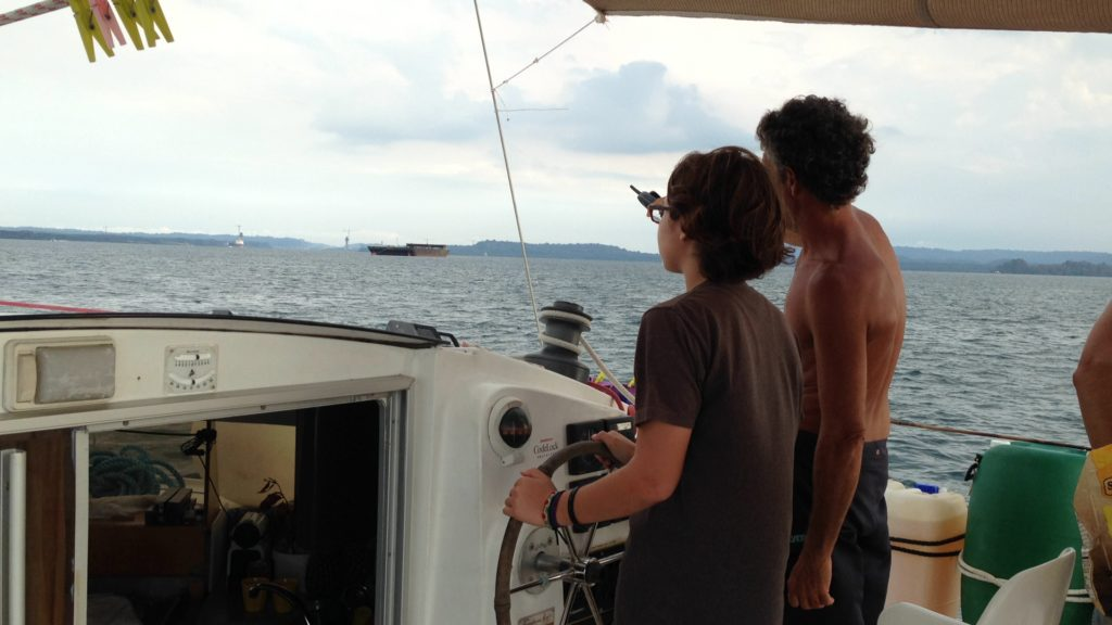 Going through the Panama Canal gave us each a chance to get behind the wheel of a sailboat.