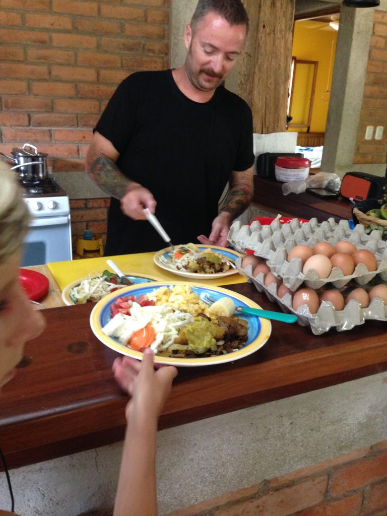 Paul doing what he loves - getting ready to eat.