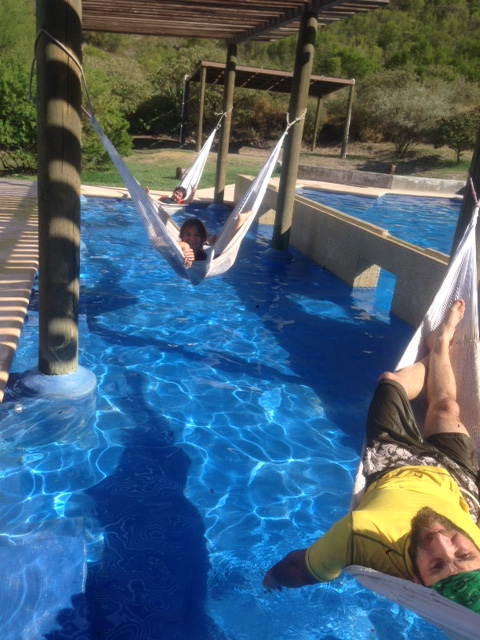 We were all disappointed to learn that sitting poolside doesn't count as exercise. We did it anyway.