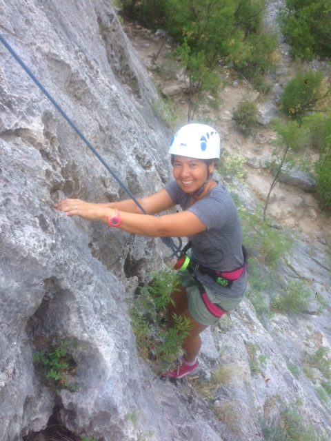 R prefers alternative forms of exercise to  sit-ups and push-ups. Here, she is rock climbing in El Potrero Chico in northern Mexico.