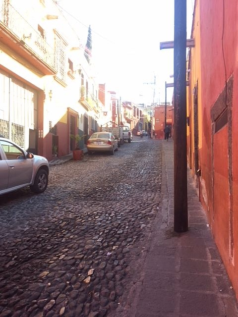 "Most streets in San Miguel de Allende are cobblestone.  Cuesta de San Jose (""Saint Joseph's Slope"") is no different."