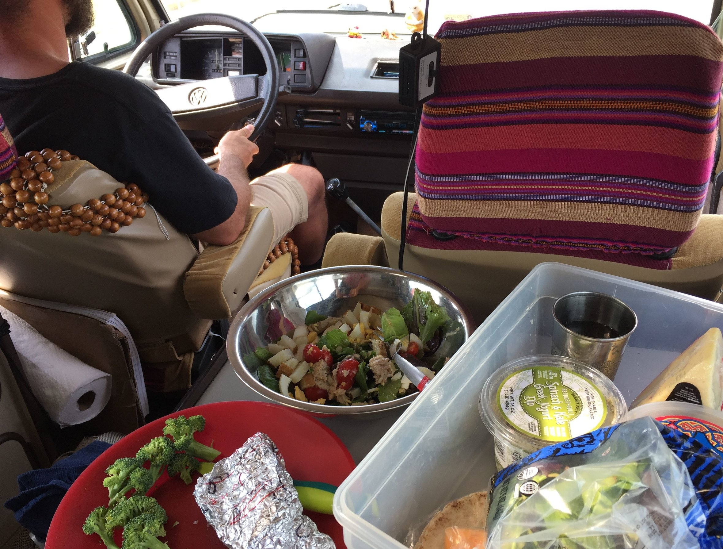 There's something more fun and tasty about eating a lunch that looks like this when it's prepared at 45mph.