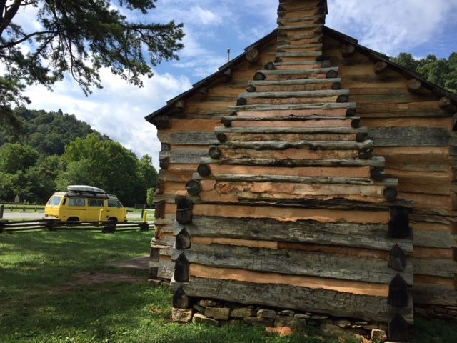 Wesley parked outside  Abe Lincoln's boyhood home  on Knob Creek in Hodgenville, Kentucky. The style was called a one man cabin - so named because it would take one man about 2 weeks to build one.