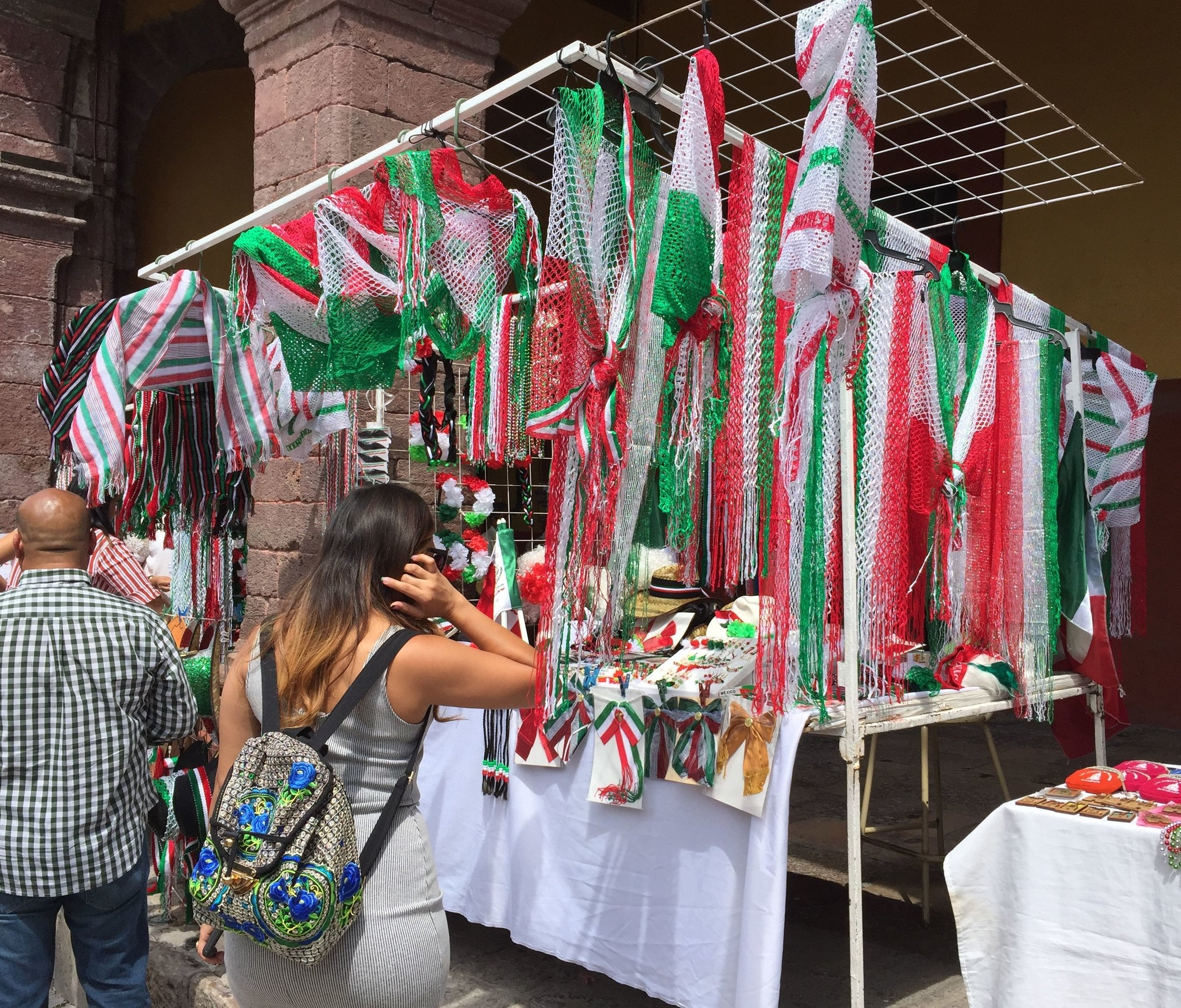 Many stands selling Mexican-flag themed trinkets pop-up around town on dates important to Mexican independence