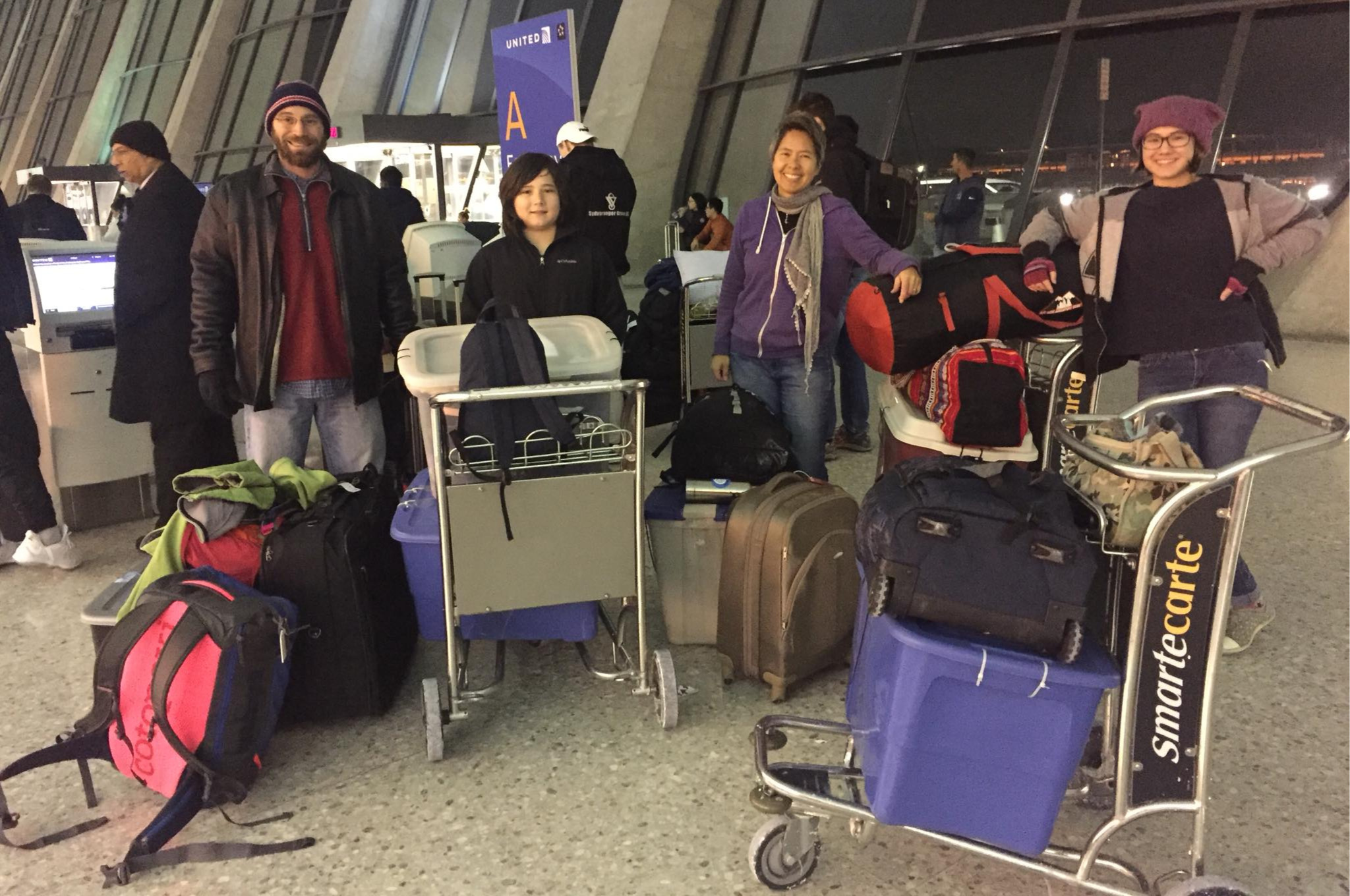 We brought a lot of luggage with us to Mexico in January 2018, but left our baggage in the U.S.