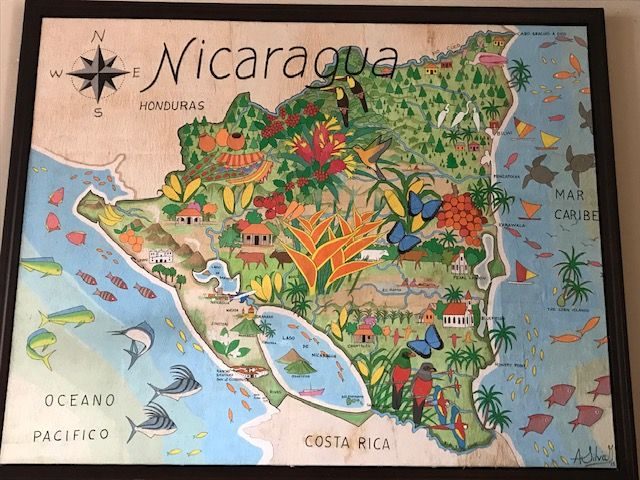 We remembered Nicarragua as shiny and happy, like this wall art hanging in a fancy gringo resort . . .