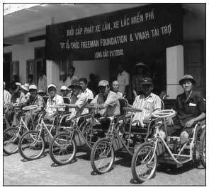 Since January 2002, over 2500 wheelchairs and tricycles chairs were donated to severely disabled war victims.